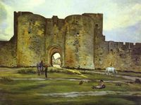 Les remparts d'Aigues-Mortes du côté du couchant, 1867, Porte de la Reine à Aigues-Mortes, 1867.