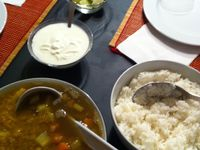 Indian dishes, switz table, english speaking post for change