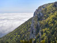Forêt Domaniale d'En Malo (C) Philippe Dubedat. Et Bac d'Estable surplombant le village d'Axat.