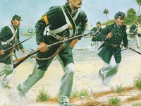 A gauche, caporal des Marines en grande tenue avec le shako M1859 (centre historique naval USA ), au centre un groupe de 5 Marines avec un officier, toujours en grande tenue. Marines en tenue de débarquement pour zone chaude par Don Troiani