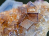 Fluorite (Fluorine) with Galene on Quartz from Bingham, New Mexico