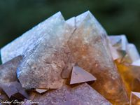 Gold Fluorite with Blue Phantom from Huanggangliangmine, Cifeng Keqi, Inner Mogolia, China (size: Cabinet)
