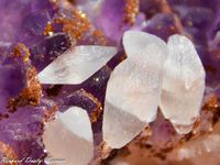 Calcite on Amethyst from San Juan de Rayas Mine, Guanajuato, Mexico (size: Small cabinet)