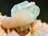 Green Apophyllite and Stilbite with Chalcedony (Calcédoine) and Scolecite on Heulandite from Indori Mine, near Talagaon, India (size: Museum)