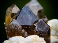Smoky Quartz with Spesartite Garnet and Fluorite from Tongbei, Fujian, China (size: Cabinet)