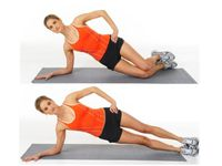 1)standing crunches,2)basic side isolations,3)bicycle crunches