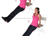 1)jogging,2) wall push,3) chair squats,4) crunches,5) jumping jacks,6) chair dips,7) bridges,8) bird dogs, 9) straight leg raises(30 secondes à chaque jambe)