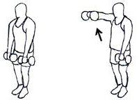 1) 20 lateral raises,2) 40 front raises,3) 20 shoulder presses,