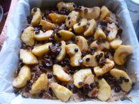 Gâteau pour le goûter pommes/ raisins chocolat/ crumble