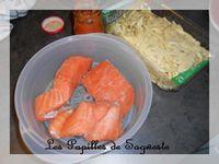 Assiette équilibrée #1: saumon, pâtes, choux de bruxelles