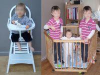 Chaise haute Combelle - parc de jumeaux - transat BabyBjorn - armoire Pinolino Nina