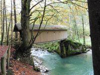 Pour rejoindre la via du Châtelard on monte vers le pont couvert sur le Brévon. Un parcours en rocher au dessus des ocres de la forêt.