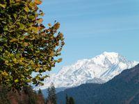 Le Mont Blanc depuis la Servaz, la marmite des charbonniers, le torrent de St Ruph.