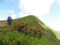 On distingue la face nord du Charvin. Depuis le col, la montée vers la Mandallaz.