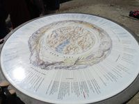 Au sommet, une table d'orientation. On fait face à la Montagne des Glaciers et, de l'autre côté, à la Tête Sud des Fours.
