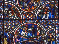 Le bon Samaritain - Ce vitrail, contrairement aux autres, se lit de haut en bas ...