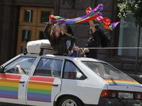 Day of action yesterday in Moscow against anti &quot&#x3B;gay propaganda&quot&#x3B; law towards minors under the symbol Conchita Wurst