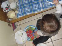 une parenthèse sur ma Lyssana et son apprentissage de la diversification : elle est toujours là pour aider à mettre la table ! elle préfère manger à même le petit pot et la cuillère lui sert juste pour peindre ses pieds d'ailleurs elle est toujours très discrète à ce moment là !