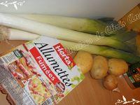 Fondue de poireaux aux lardons sur lit de pommes de terre