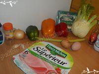 Gratin de légumes colorés au jambon et Roquefort