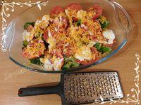 Gratin de brocoli / tomate et mimolette accompagné d'une bavette grillée