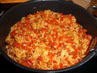 Risotto poivron, chorizo et fromage de brebis