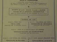 """Programme des festivités de Kopierre de l'année 1981 avec illustration de Georges Hugot - Extraits du bulletin municipal conservé à la Société d'histoire d'Aniche. Michel Meudesoif tiendra le propos suivant : """"La déontologie m'interdit de rapporter des anecdotes à propos de la vedette de cette année là. Dommage ! J'en avais de savoureuses."""""""