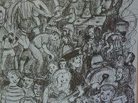 """Programme des festivités de Kopierre de l'année 1980 avec illustration de Georges Hugot - Extraits du bulletin municipal conservé à la Société d'histoire d'Aniche. Michel Meurdesoif avouera avoir conservé un  """"excellent souvenir de Marcel Amont. Tous ceux qui étaient en coulisses sont venus sur le devant de la scène pour admirer la perfection du spectacle réglé au cordeau par le chanteur qui, après sa performance, a convoqué dans les loges ses musiciens pour leur passer un savon au sujet d'un départ décalé que personne, bien sûr, n'avait remarqué."""""""