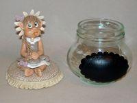 Pot douceur avec bébé elfe fillette en porcelaine froide