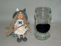 Pot avec p'tite sorcière en porcelaine froide