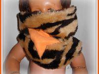 Ensemble guêtres et snood en peluche tigrée - Peluche et polaire orange - Taille 2 ans