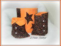 14.12.2014 - Ensemble guêtres et snood orange - Polaire orange et velours côtelé imprimé fleurs - Taille 4 ans