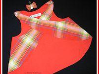 2014.04.18 - Tablier croisé au dos en coton madras doublé coton rouge et sa barrette noeud clic-clac