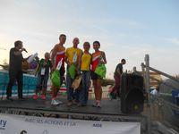 les podiums : BENEDICTE (5kms), THIERRY et HELENE, et LOUISE (10kms)