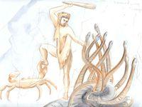 les premiers travaux d'Hercule : tuer le lion de némée, tuer l'hydre de Lerne, capturer la biche de Cérynie.