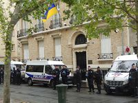 Devoir de mémoire pour les morts d'Odessa du 2 mai 2014 à Paris.