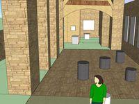 Modélisation 3D de l'église afin mieux envisager la scénographie des oeuvres.