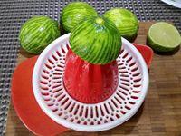 1 - Prélever le zeste des 4 citrons verts, puis les presser pour en recueillir le jus (10 cl), réserver. Découper à l'aide d'un emporte-pièce des petits disques dans la pâte sablée aux dimensions de votre moule à mini-muffins (ou autre moule similaire), les placer dans le moule et retirer l'excédent de pâte. Mettre les moules au réfrigérateur.