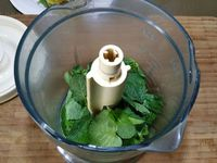 2 - Laver et sécher le menthe fraîche, la passer au mixeur avec le kiwi pelé et coupé en morceaux et le sirop d'agave. Verser le gel obtenu dans une bouteille biberon et réserver au frais.