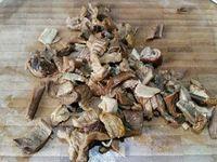 3 - Egoutter les lanières de filet et les poser sur du papier absorbant pour éponger, réserver. Faire de même avec les cèpes. Placer ces derniers dans un récipient , ajouter l'échine mixée, l'échalote émincée, les noisettes concassées, puis incorporer les oeufs. Bien mélanger et assaisonner avec le sel et le poivre.