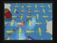 Plusieurs aires de jeu, choix du personnage et première partie du menu.