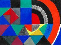 1958 - Rythme coloré - huile sur toile 114,3 x 86,9cm &#x3B; 1964 - rythme coloré - huile sur toile 97,5X 195,5cm &#x3B; 1965 - rythme couleur - gouache sur papier 58x78cm
