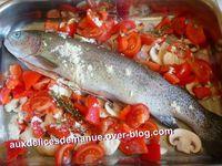 truite et légumes au four - riz basmati
