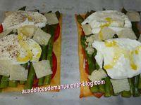 feuilleté aux asperges, mozzarella et œuf mollet