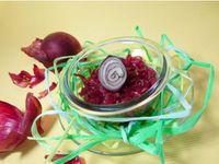 Confit oignons rouges, compotée de poires et abricots