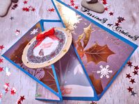 Carte - Noël - 2016 - Couronne - Noeud - Ultimate Pro - Tutoriel - Youtube - Flocons - Strass - Stickers - Papier Scrapbooking - Pliage - Simple - Facile