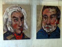 Des kakémonos sur la pelouse&#x3B; une toile de Nathalie Grenier&#x3B; des prortaits de Charlotte de Maupéou&#x3B; les créations de Luc Lefort et les vins du Domaine des Maisons rouges
