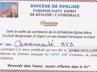 Centenaire de la cathédrale à Kpalimé, héritage de premiers missionnaires SVD au Togo