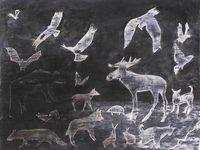 Kati Kukkasniemi 2011 - Création du monde : les animaux - Acrylique, techniques de pochoir, sur papier 50 x 65 cm