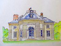 Dessin et aquarelles du pavillon de la Muette : façade N et S, au centre, août 2016